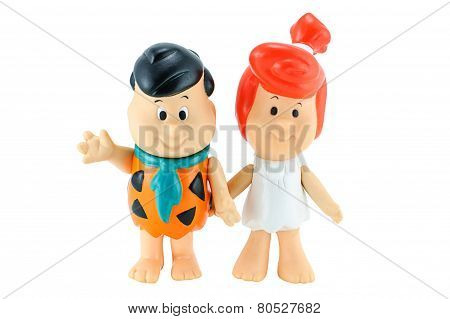Fred Flintstone And His Wife Wilma Flintstone Character From The Flinstone Cartoon Aimation.