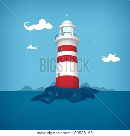 Lighthouse In The Sea , Vector Illustration
