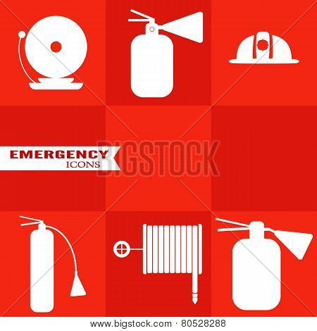 Set Of Fire Vector Icons On Red Background.