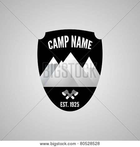 Camping Mountain Logo, With Crossed Axe. Labels And Badges.