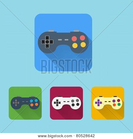 Joystick Flat Icons Set. Round Colorful Buttons.