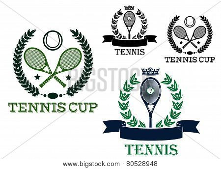 Tennis rackets and balls in sporting labels