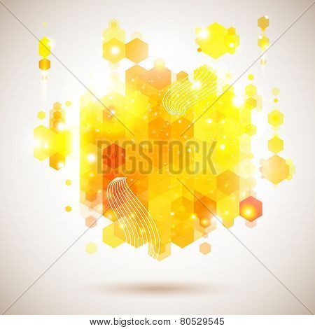 Bright and optimistic poster. Lush yellow abstract composition.