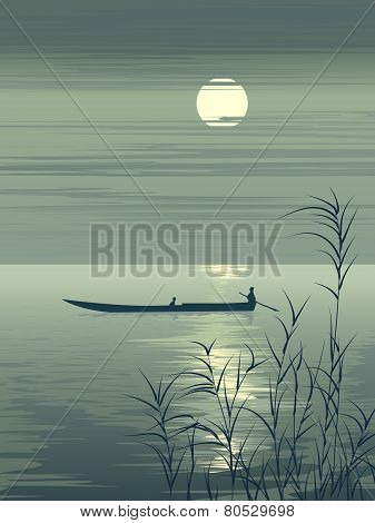 Vector Illustration Boat On Lake Against The Moon.