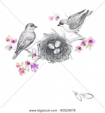 Graphic drawing with watercolor flowers and cute birds
