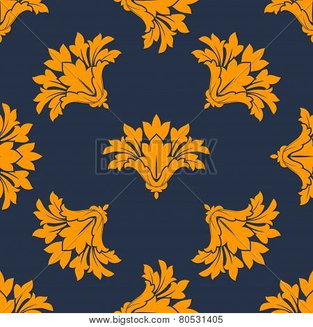 Seamless floral pattern with orange cornflowers