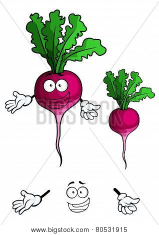Happy smiling beet vegetable in cartoon style