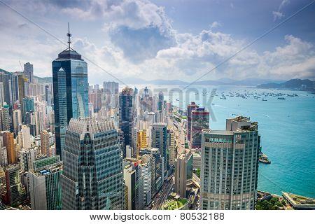 Hong Kong, China aerial cityscape at Victoria Harbor.