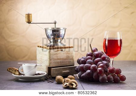 Coffee Grinder, Coffee And Sweet Italian Cookie Cantuccini, Grapes And Glass Of Wine