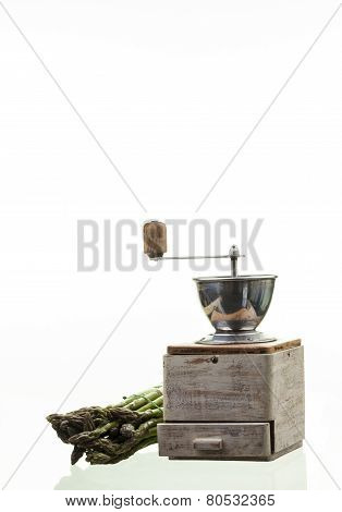 Pepper Mill And Asparagus