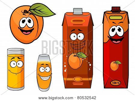 Cartooned apricot juice with glasses and apricot fruit
