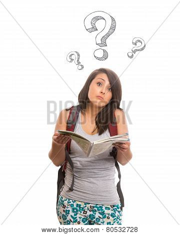 Confused woman with raised eyebrows holding map
