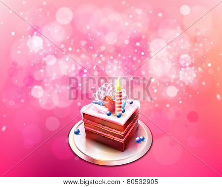 Vector illustration with piece of chocolate cake