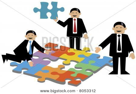 Businessmen doing puzzles