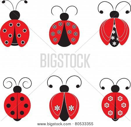 Isolated  Ladybags Vectors