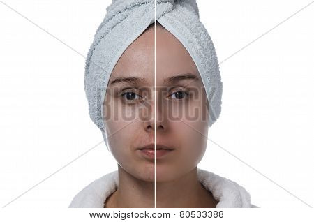 woman's face before and after makeup horizontal