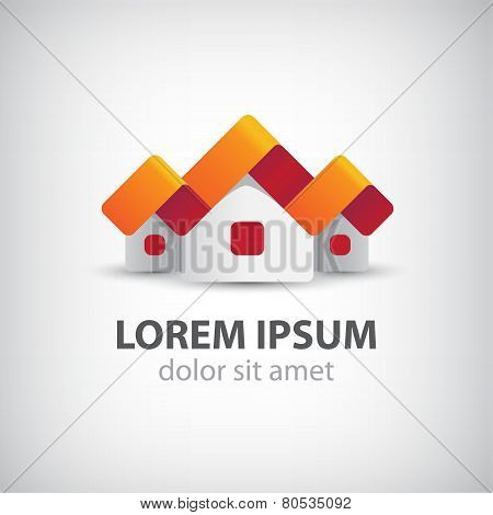 vector houses origami paper icon, logo isolated