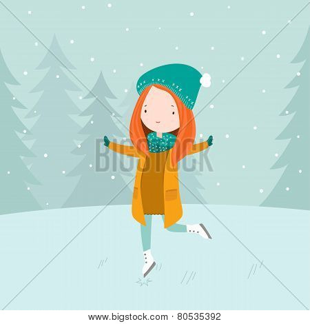 Girl training Ice skating figure