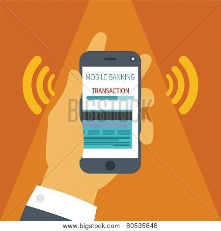 Vector Concept Of Mobile Payment On Smartphone.