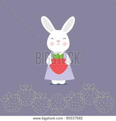 Cute bunny holding a strawberry