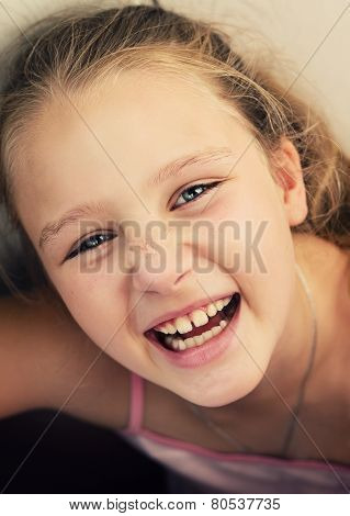 Happy Little Girl Is Laughing