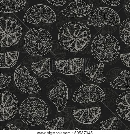 Seamless vector pattern with doodle citrus fruits on a dark background