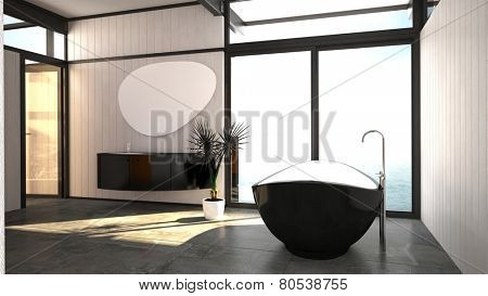 3D Rendering of Modern stylish black and white bathroom interior with a freestanding boat-shaped bathtub and wall mounted vanity between a window and glass door