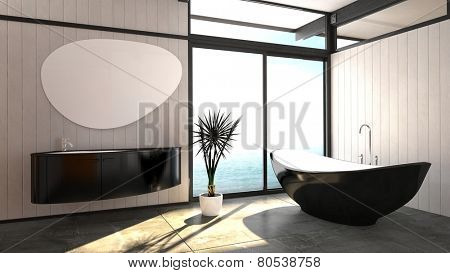 3D Rendering of Modern elegant boat-shaped black bathtub standing in a bright airy bathroom with a floor-to-ceiling window and wall-mounted vanity unit with a trendy mirror