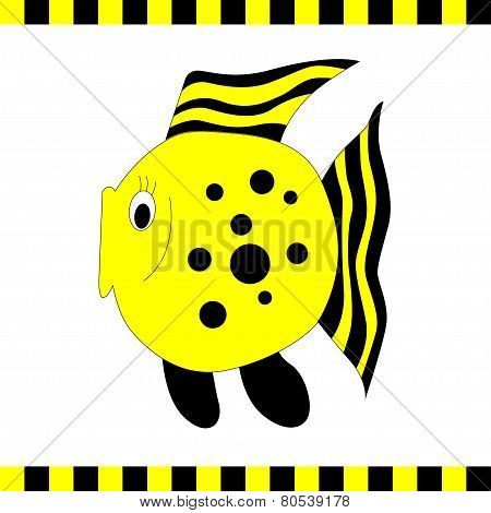 Funny Yellow Fish With Black Stripes