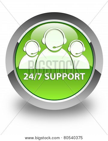 24/7 Support (customer Care Team Icon) Glossy Green Round Button