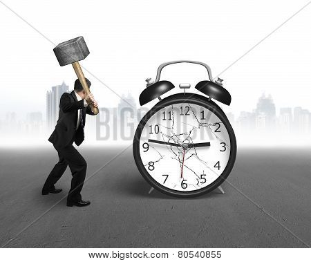 Businessman Using Sledgehammer Hitting Alarm Clock Broken Glass With Cityscape
