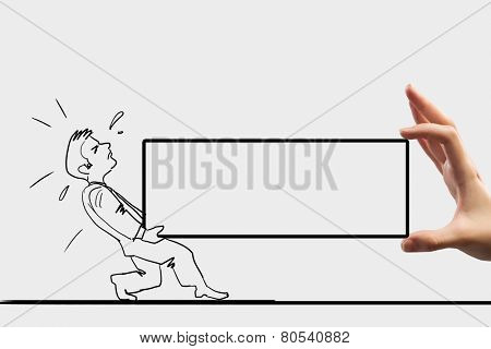 Caricature of overloaded man carrying box with effort
