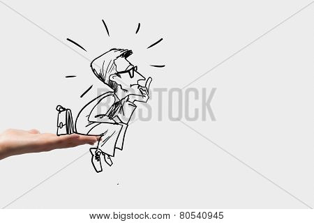 Caricature of thoughtful businessman sitting on palm