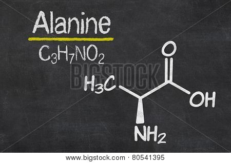 Blackboard with the chemical formula of Alanine