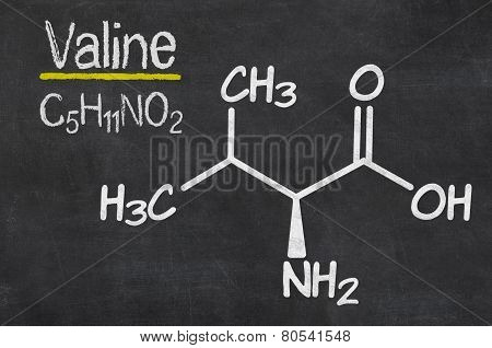 Blackboard with the chemical formula of Valine