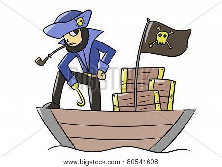 cartoon blue pirate treasure boat