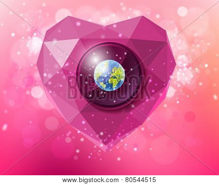 Vector heart of polygons with the planet Earth
