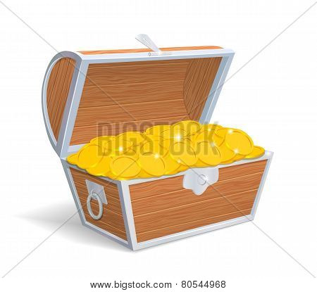 Wood chest full with gold coins