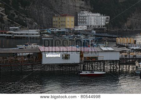 The Port Of Marina Grande In Sorrento, Italy At Dusk