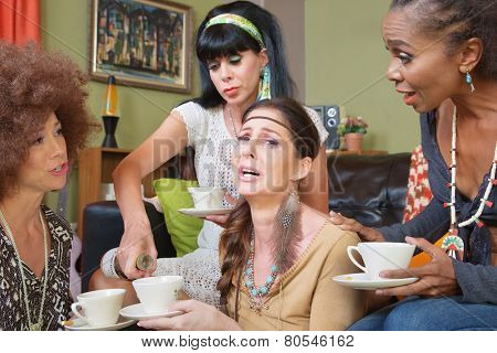 Sobbing Woman With Friends And Alcohol