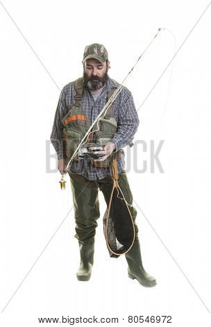 Fly fisherman isolated on white background.