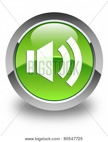 Volume Icon Glossy Green Round Button