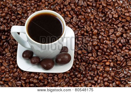 Dark Coffee And Chocolate With Roasted Beans On The Side