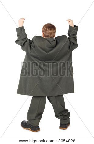 Little Boy In Big Grey Man's Suit And Boots Hand View From Back Isolated On White Background