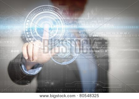 Close up of businesswoman touching media screen with finger