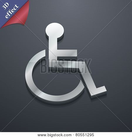 Disabled Icon Symbol. 3D Style. Trendy, Modern Design With Space For Your Text Vector