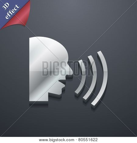 Talking Icon Symbol. 3D Style. Trendy, Modern Design With Space For Your Text Vector