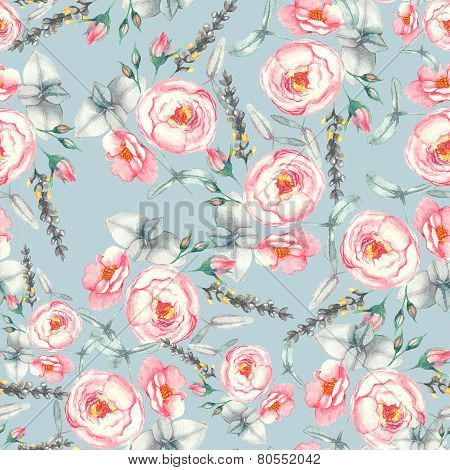 Hand drawn watercolor floral seamless pattern with tender pink roses in vector on the light blue bac