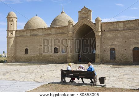 Pilgrims visit Arystan Bab Mausoleum, Otrartobe, South Kazakhstan.