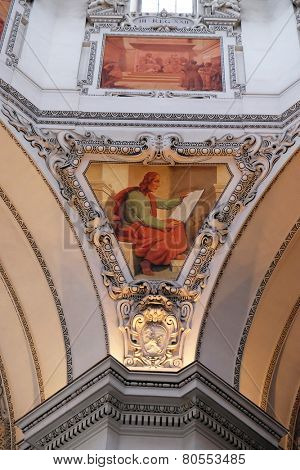 SALZBURG, AUSTRIA - DECEMBER 13: Saint John the Evangelist, fragment of the dome in Salzburg Cathedral on December 13, 2014 in Salzburg, Austria.